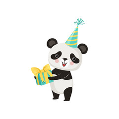 Cute panda in party hat with gift box in paws. Adorable bamboo bear with pink cheeks. Flat vector design for print, sticker or birthday postcard