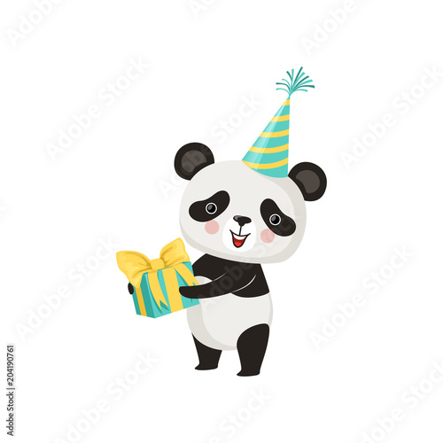 Cute Panda In Party Hat With Gift Box In Paws Adorable Bamboo Bear
