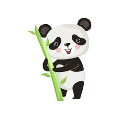 Smiling panda standing with green bamboo stick. Cartoon character of black and white exotic bear. Flat vector design