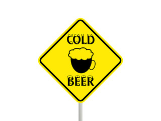 Sign with glass of cold beer.