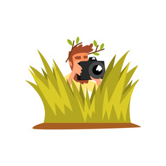 Professional male photographer paparazzi hiding in tall grass with photo camera vector Illustration on a white background