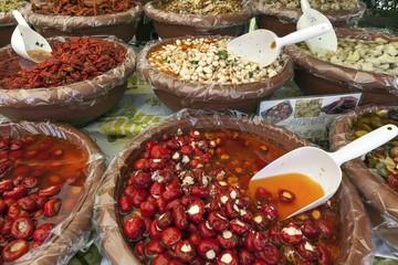 Antipasti at a market stall in Cannobio, Lago Maggiore, Verbano-Cusio-Ossola province, Piedmont region, Italy, Europe
