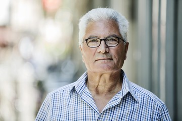 Grey-haired Senior with glasses, migration background, native Italian, portrait, Germany, Europe