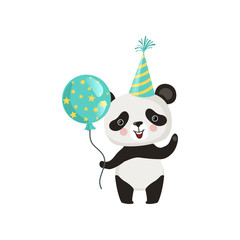 Panda holding glossy balloon and waving by paw. Funny bamboo bear in party hat. Flat vector design for children's book or postcard