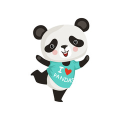 Funny little panda in dancing action. Adorable bamboo bear with pink cheeks in t-shirt. Flat vector design for sticker or postcard