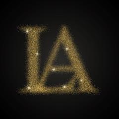 letter A and L golden logo