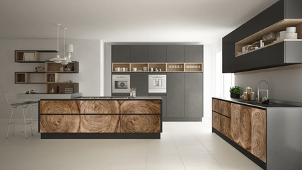 Gray modern minimalistic kitchen, with classic wood fittings, panoramic window, luxury interior design