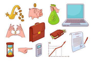 sketch business finance symbols variation. Laptop, wallet graph chart money bag Isolated illustration on a white background