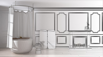 Unfinished project of vintage bathroom in classic space with old fireplace and parquet floor