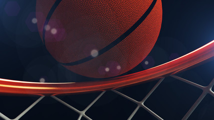 3D illustration of Basketball ball falling in a hoop