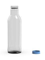 Glass bottle, 3D rendering.
