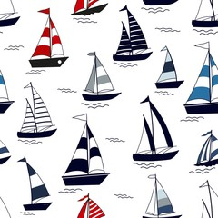 Marine seamless pattern with cartoon boats