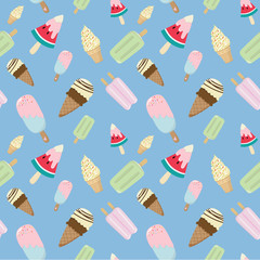 ice cream cone and ice cream bar seamless pattern on blue background. ice cream line illustration background. creative pastels concept
