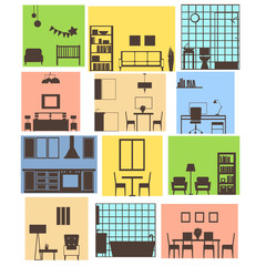 Interiors of different rooms. Vector illustration