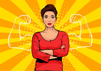 Businesswoman with muscles pop art retro style. Strong Businessman in comic style. Success concept vector illustration.