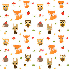 Vector seamless pattern with cute woodland animal characters - owl, fox hedgehog and bunny for children clothing and design