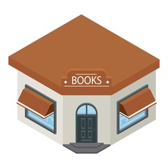 Books shop building icon. Isometric of books shop building vector icon for web design isolated on white background