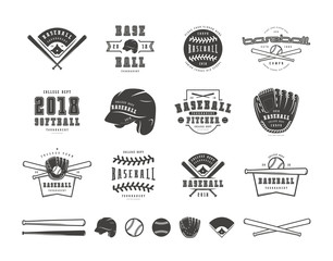 Emblems and badges set of baseball team