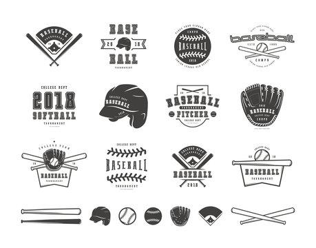 Emblems and badges set of baseball team