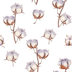 Cotton flower eco buds branches seamless pattern