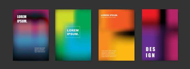 Modern abstract covers set. Blur colorful background