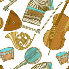 Musical Instrument Pattern in Hand Drawn Style