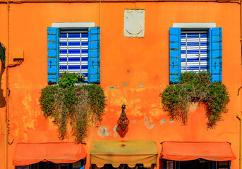 Picturesque and colorful houses in Burano island near Venice Italy
