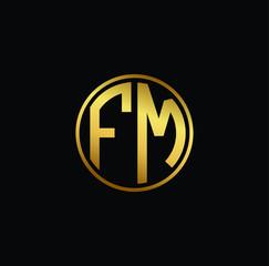 Initial letter FM, minimalist art monogram circle shape logo, gold color on black background