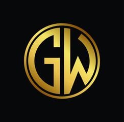 Initial letter GW, minimalist art monogram circle shape logo, gold color on black background