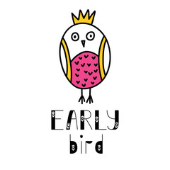 Early bird lettering and owl doodle illustration