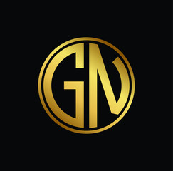 Initial letter GN, minimalist art monogram circle shape logo, gold color on black background