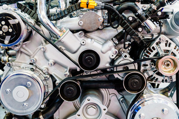 Truck Engine Motor Components In Car Service Inspection
