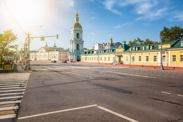 Beautiful city summer landscape, the capital of Russia Moscow, the historic city center, old buildings and the church