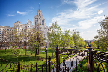 Beautiful city summer landscape, the capital of Russia Moscow, the city center, a green park and a view of the skyscraper on Kotelnicheskaya