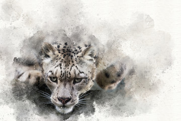 Pouncing snow leopard mixed media