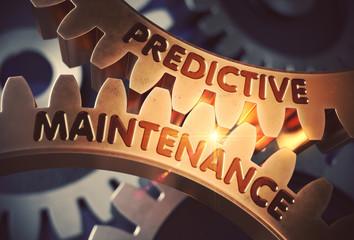 Predictive Maintenance on Golden Cog Gears. 3D Illustration.