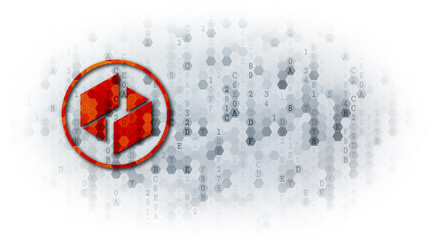 Ubiq - Icon on Pixelated Background.