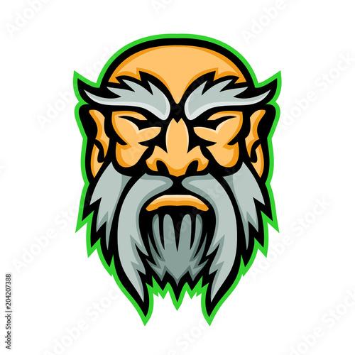 Mascot Icon Illustration Of Head Of Cronus Or Kronos A Son Of