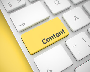 Content - Text on Yellow Keyboard Keypad. 3D.