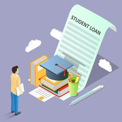 Student loan concept vector isometric illustration