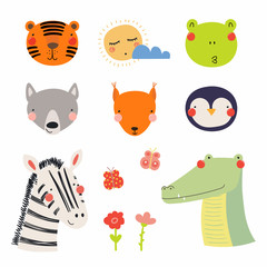 Set of cute funny hand drawn different animal faces, sun, cloud, flowers, butterflies. Isolated objects. Vector illustration. Scandinavian style flat design. Concept for children print.