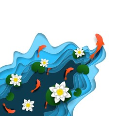 Water lily, koi carp vector paper cut illustration