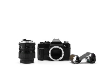single-lens reflex camera, lens and film, isolated on white background