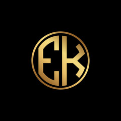 Initial letter EK, minimalist art monogram circle shape logo, gold color on black background