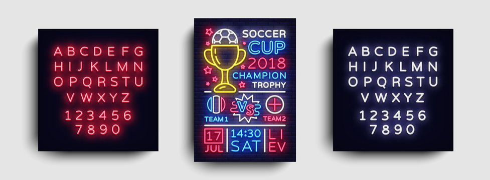 Soccer Tournament flyer vector. European Football Championship poster, neon sign, design template for brochure for soccer, soccer cup, light neon football advertisement. Vector. Editing neon sign