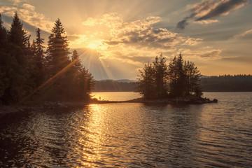Lake sunset / Golden lake sunset in Rhodope Mountains, Bulgaria
