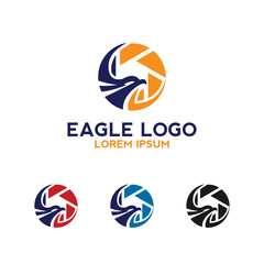 eagle wings logo with camera icon vector template design