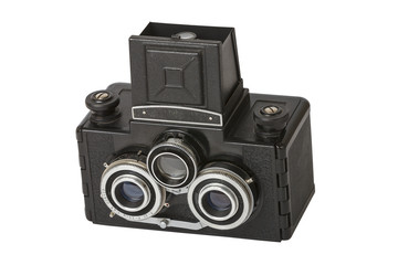 vintage camera with three lenses isolated on white background, stereo camera