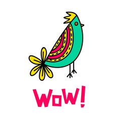WOW! lettering and bird doodle illustration