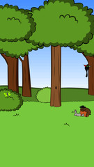 A green forest full of trees and bushes with copulating rabbits, a smoking butterfly and a woodpecker at work in cartoon style